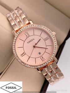 Ceas de dama Fossil, plin cu cristale LUX stralucitoare, Auriu rose, ES3546 [0]