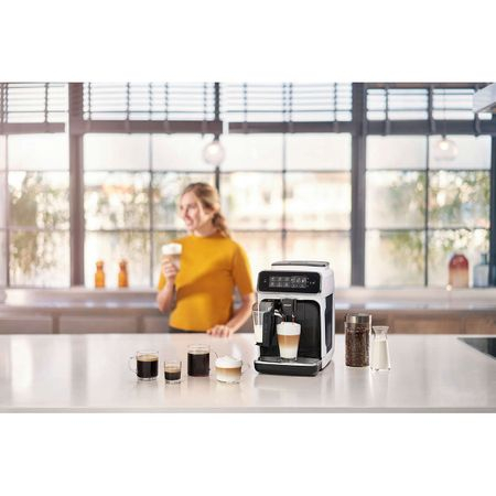 Espressor automat Philips EP3243.70, sistem de lapte LatteGo, 5 bauturi, filtru AquaClean, rasnita ceramica, optiune cafea macinata, ecran tactil, Alb [1]