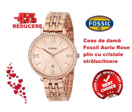 Ceas de dama Fossil, plin cu cristale LUX stralucitoare, Auriu rose, ES3546 [8]