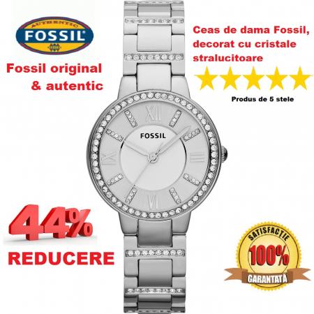 Ceas de dama original Fossil Argintiu, decorat cu cristale stralucitoare [0]