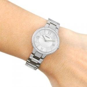 Ceas de dama original Fossil Argintiu, decorat cu cristale stralucitoare [6]