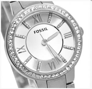 Ceas de dama original Fossil Argintiu, decorat cu cristale stralucitoare [2]