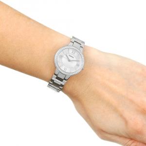 Ceas de dama original Fossil Argintiu, decorat cu cristale stralucitoare [4]