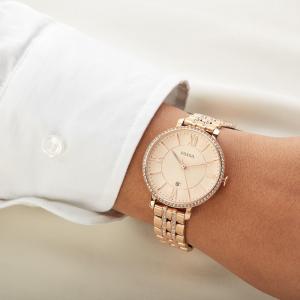 Ceas de dama Fossil, plin cu cristale LUX stralucitoare, Auriu rose, ES3546 [1]