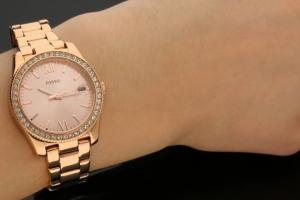 Ceas Fossil Scarlette,cu cristale minerale, Auriu rose [3]