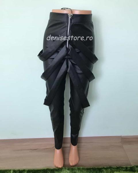 Pantaloni Bretele Im.Piele Black 2