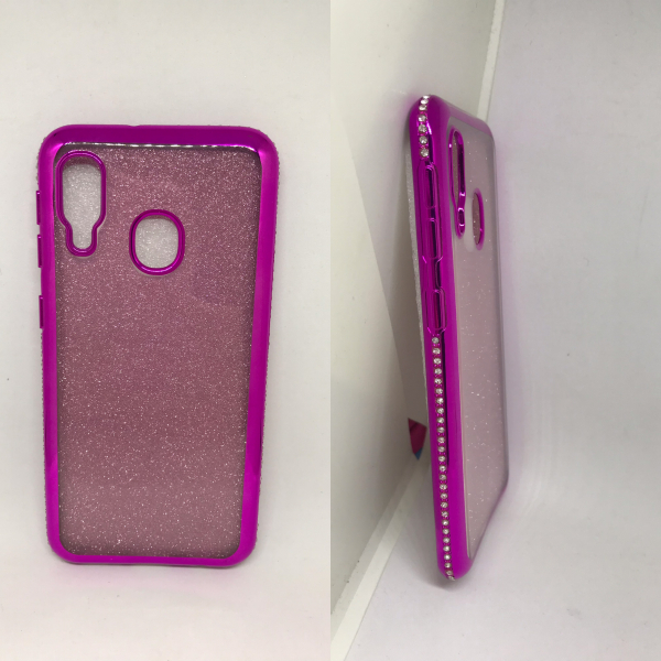 Husa Glitter Rhinestones Pink Samsung Galaxy A20e 0