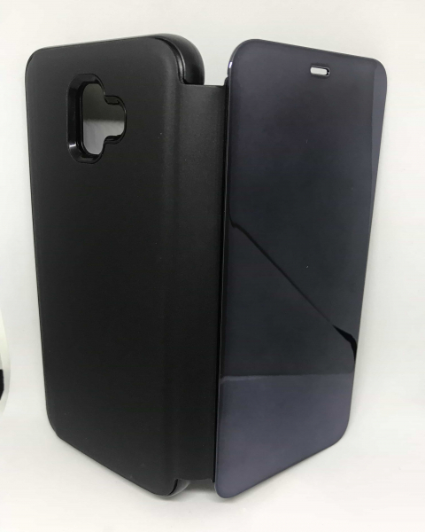 Husa Flip Clear View Mirror Black Samsung Galaxy J4 Plus 2018 0