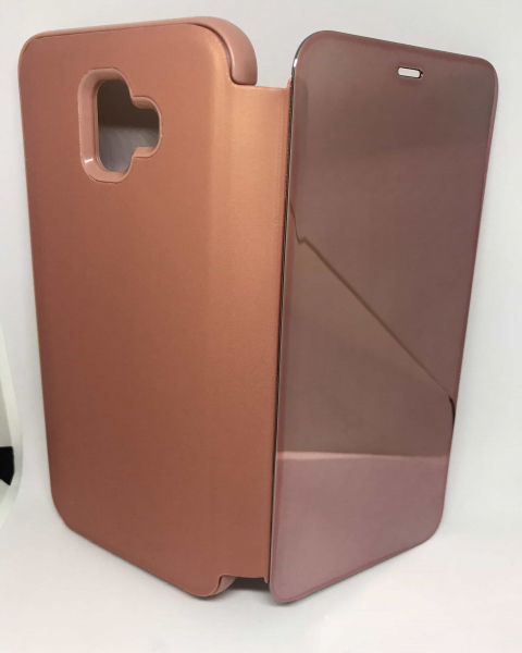 Husa Flip Clear View Mirror Rose Samsung Galaxy J4 Plus 2018 0