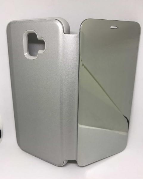 Husa Flip Clear View Mirror Silver Samsung Galaxy J6 Plus 2018 0
