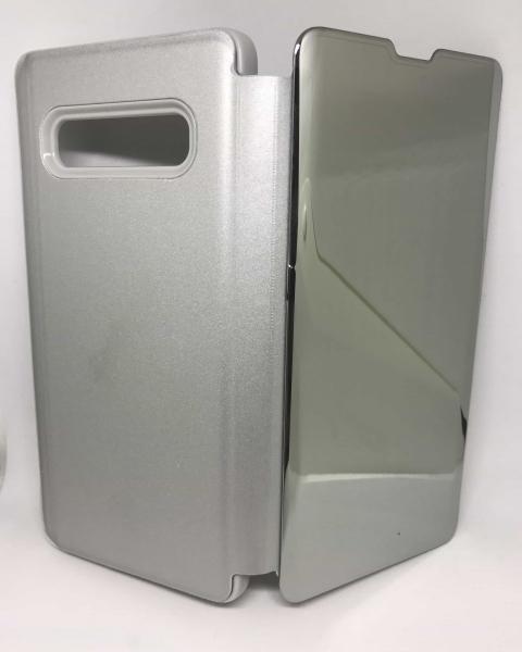 Husa Flip Clear View Mirror Silver Samsung Galaxy S10 Plus 1