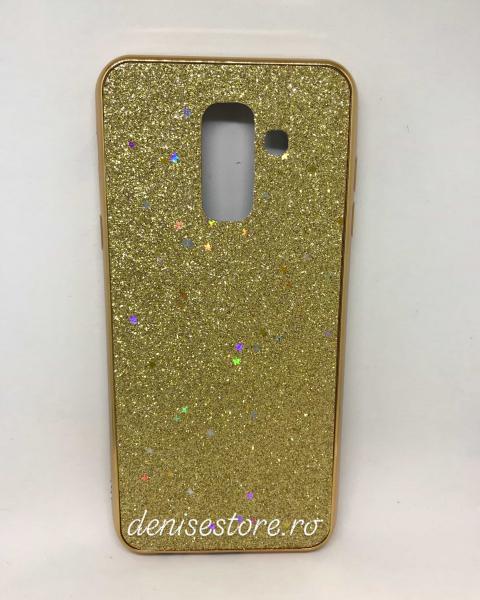 Husa Glitter Gold Stars Samsung Galaxy A6 Plus 2018 0