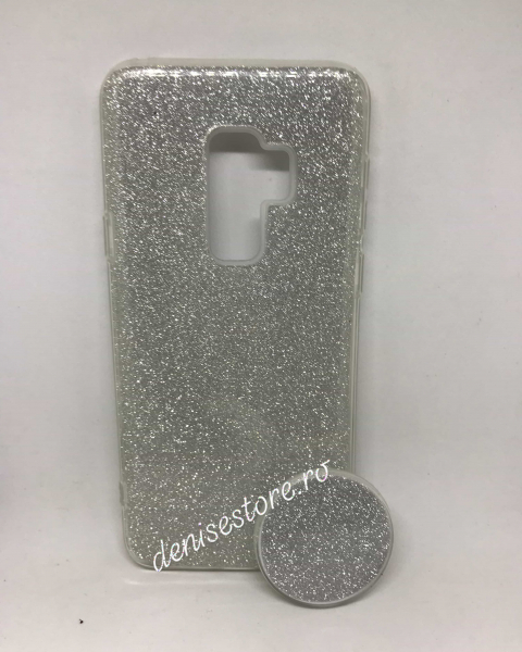 Husa + Phone Holder Glitter Silver Samsung Galaxy S9 Plus 0
