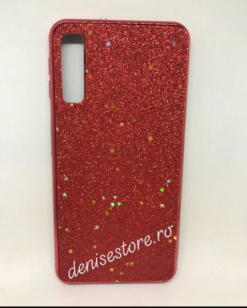 Husa Glitter Red Stars Samsung Galaxy A7 2018 0