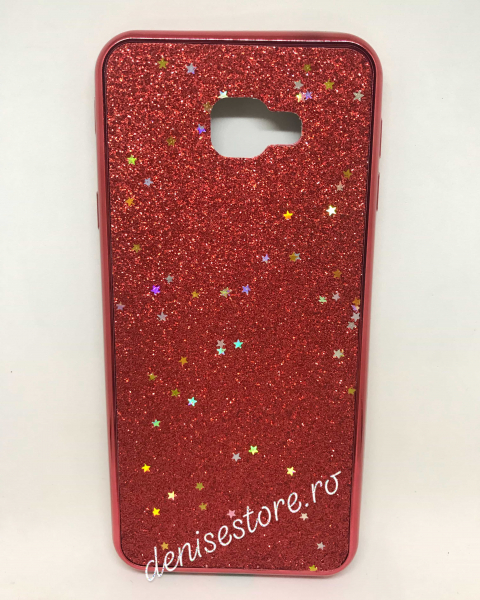 Husa Glitter Red Stars Samsung Galaxy J4 Plus 2018 0