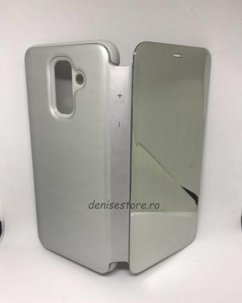 Husa Flip Clear View Mirror Silver Samsung Galaxy A6 Plus 2018 0