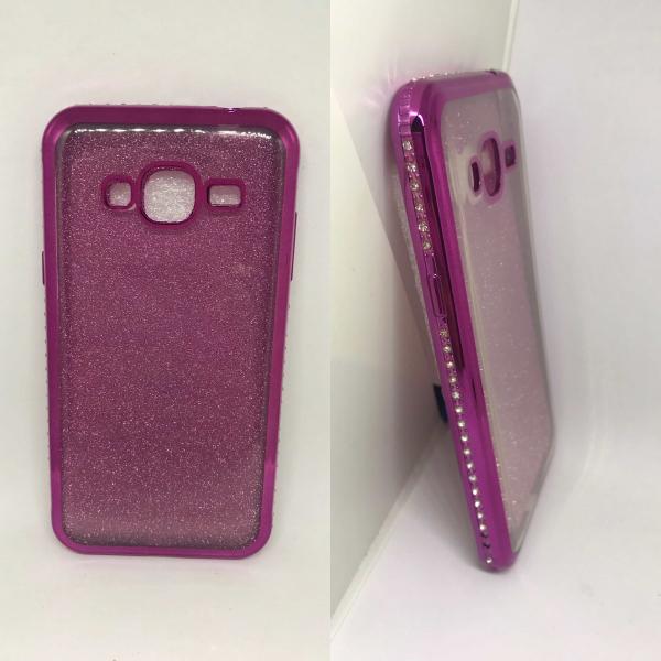 Husa Glitter Rhinestones Pink Samsung Galaxy J3 2016 0