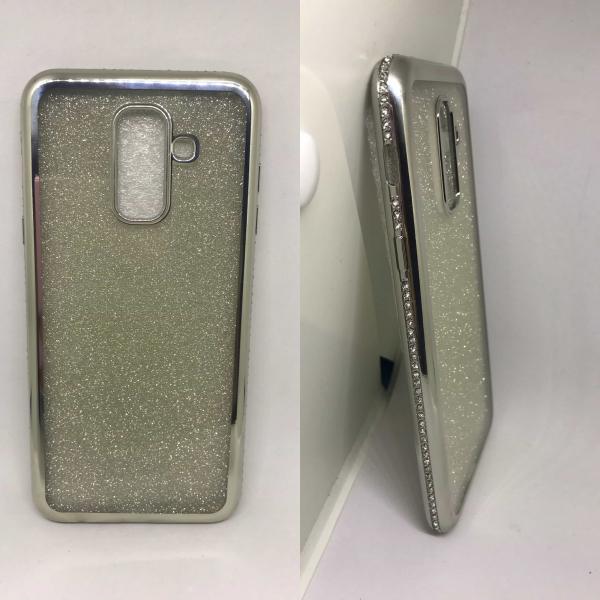 Husa Glitter Silver Rhinestones Samsung Galaxy A6 Plus 2018 [0]