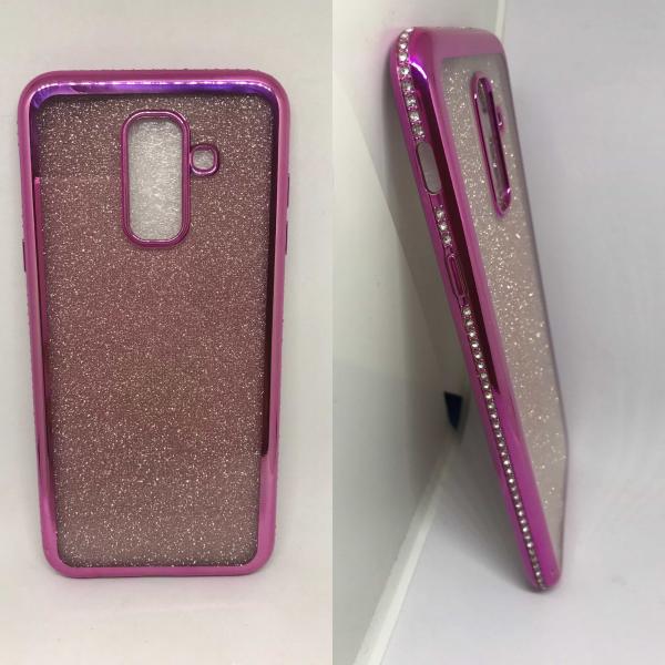 Husa Glitter Pink Rhinestones Samsung Galaxy A6 Plus 2018 0