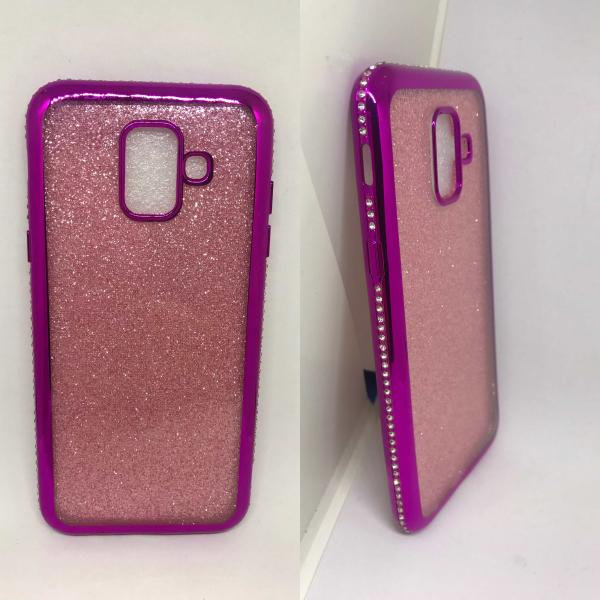 Husa Glitter Pink Rhinestones Samsung Galaxy A6 2018 0