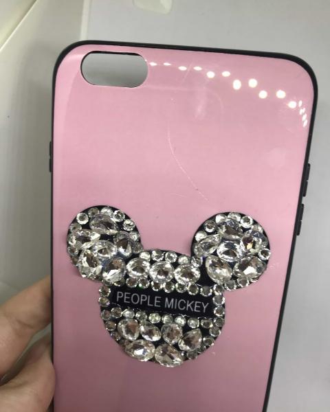 Husa Rhinestones Pink (mic defect) iPhone 6 Plus/ 6s Plus 1