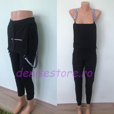 Pantaloni Bretele Love Black [0]