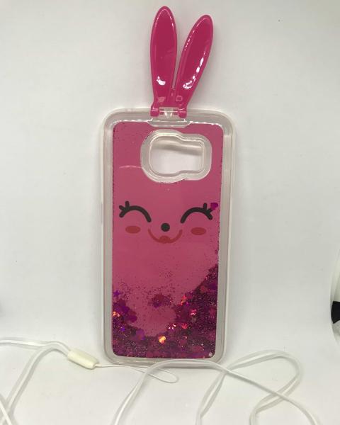 Husa Sclipici Lichid Pink Rabbit Samsung Galaxy S6 Edge 0