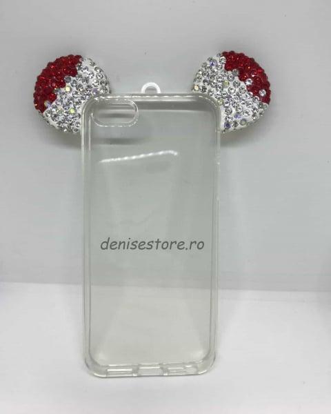 Husa Urechi Rhinestones Red iPhone 5/5s/SE 0