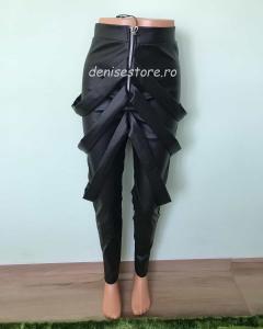 Pantaloni Bretele Im.Piele Black2