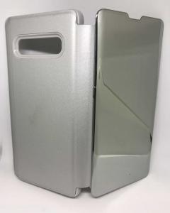 Husa Flip Clear View Mirror Silver Samsung Galaxy S10 Plus1