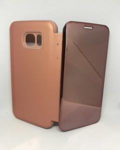 Husa Flip Clear View Mirror Rose Samsung Galaxy S7 Edge0