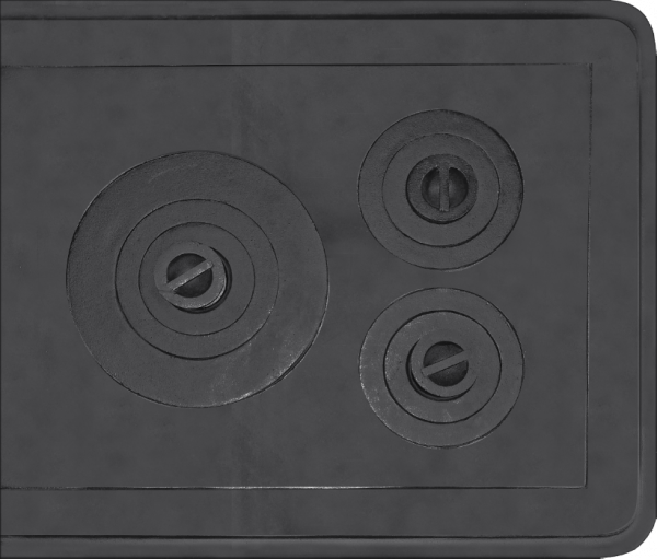 Plita din fonta cu rama si trei ochiuri 720 mm x 610 mm 0