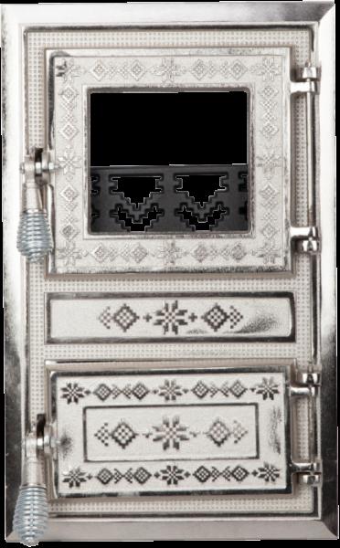 Usa soba monobloc cu geam motive Romanesti nichelata [0]
