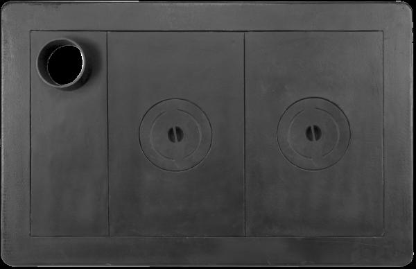 Plita fonta cu doua ochiuri cu rama 950 mm x 620 mm si cu gat burlan 0
