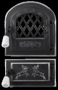 Usa soba cu geam + cenusar cerbi cu ornamente argintii [0]