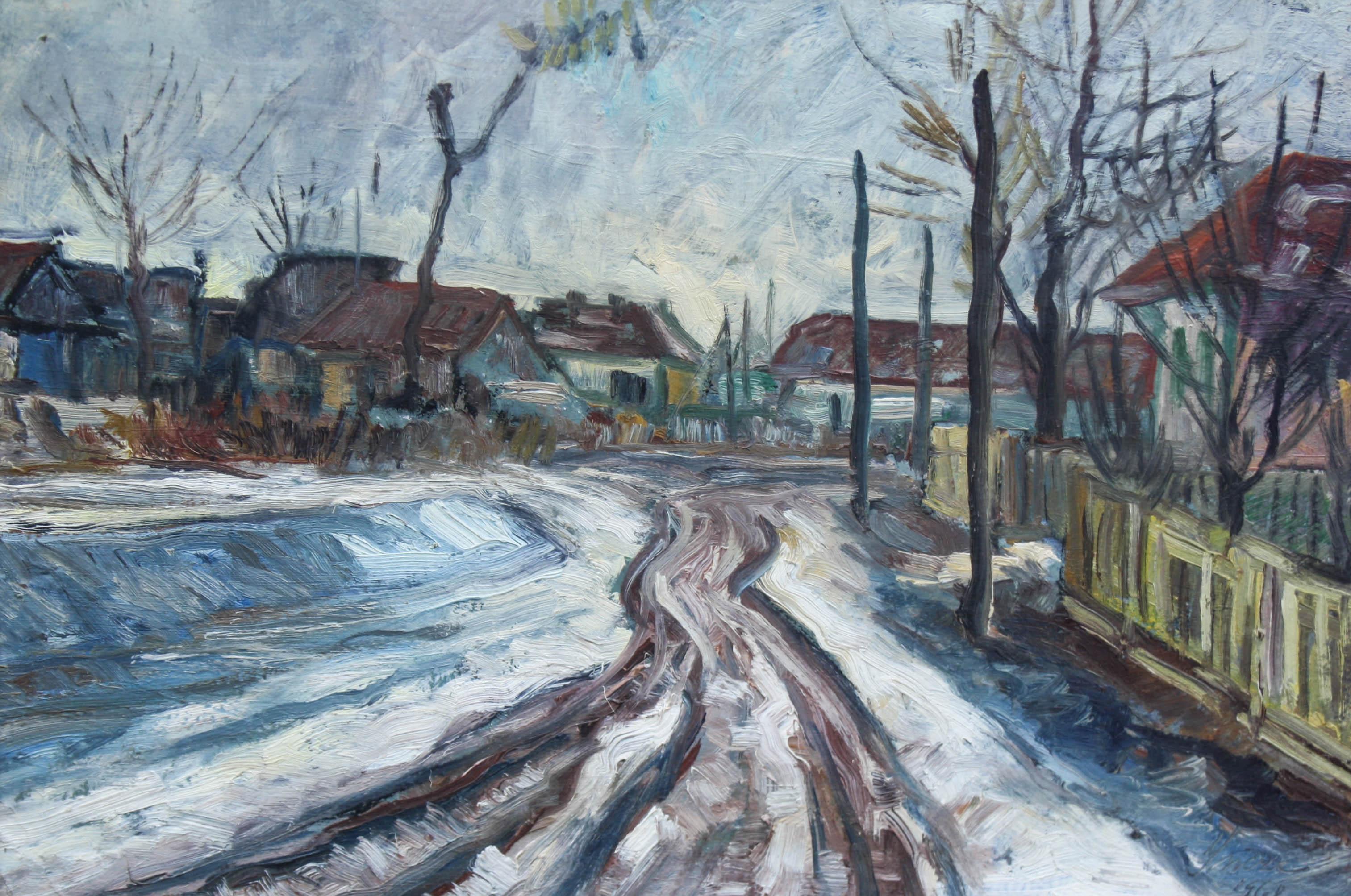 INCZE István, Peisaj de iarnă în Baia Mare, 1968