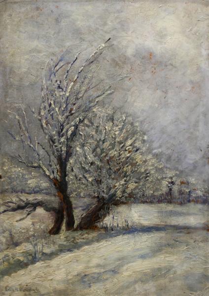 Letiția ALEXANDRU STAMATIAD, Peisaj de iarnă cu copaci 0