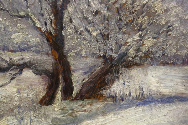 Letiția ALEXANDRU STAMATIAD, Peisaj de iarnă cu copaci 1
