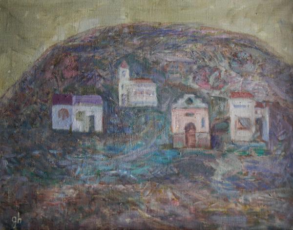 Gheorghe GHERMAN, Peisaj cu deal, biserică și case 0