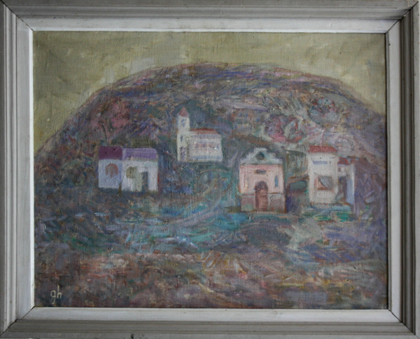 Gheorghe GHERMAN, Peisaj cu deal, biserică și case 3