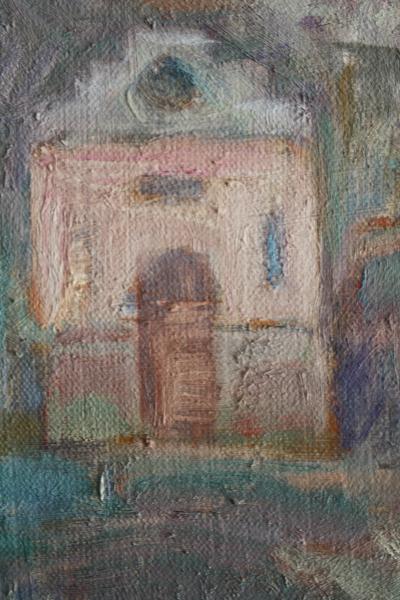 Gheorghe GHERMAN, Peisaj cu deal, biserică și case 1