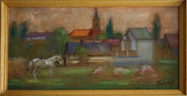 KRISTÓFI János, Peisaj rural cu biserică 3