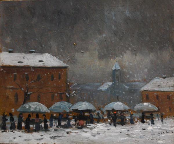 AUTOR transilvănean,  Peisaj de iarnă cu târg și case [0]