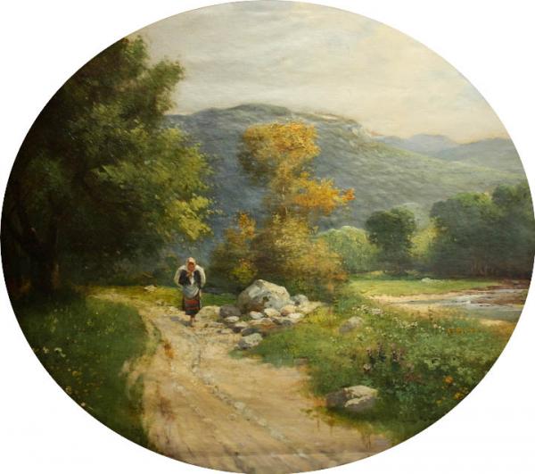 ZORKÓCZY Gyula (atr.),Tărancă la marginea pădurii 0