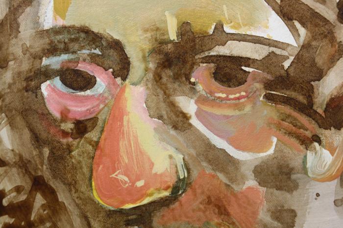 Valentin CODOIU, Portret cu haină roșie 1