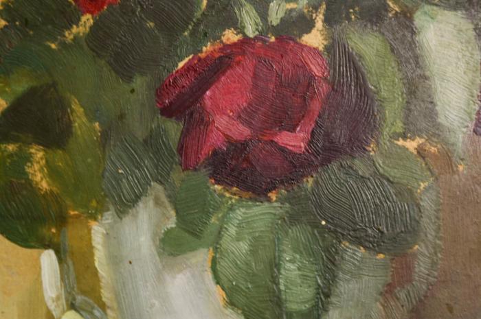 FEKETE Margit, Natură statică cu trandafiri roșii, 1954 [1]