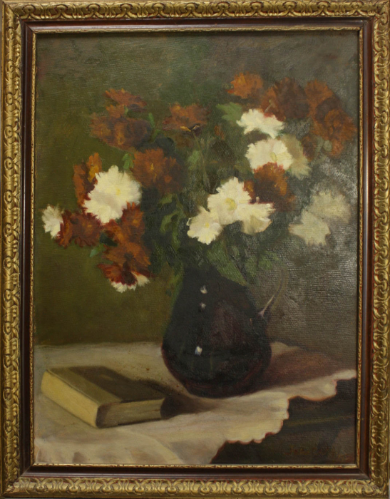 FEKETE Margit, Aranjament floral cu carte, 1950 [4]