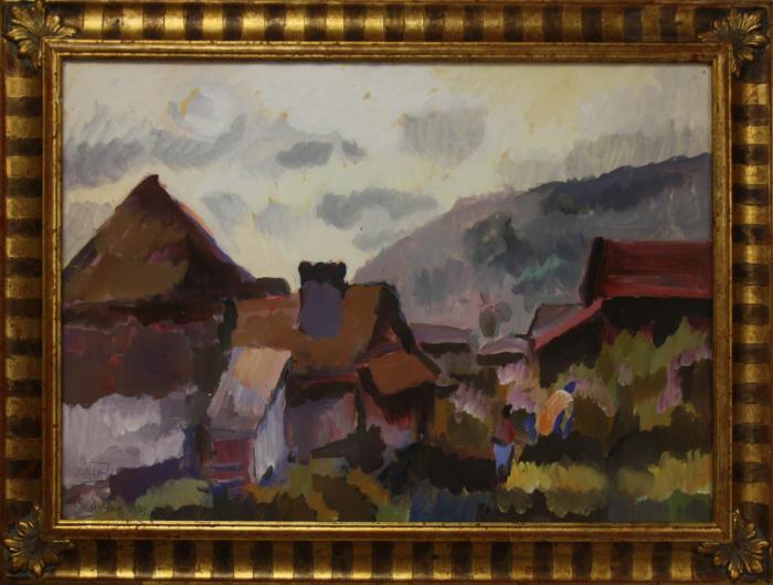 BALLA József, Peisaj cu case la Lăzarea, 1983 [3]