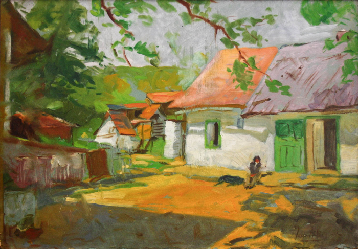 Autor NEIDENTIFICAT, Peisaj rural cu case [0]