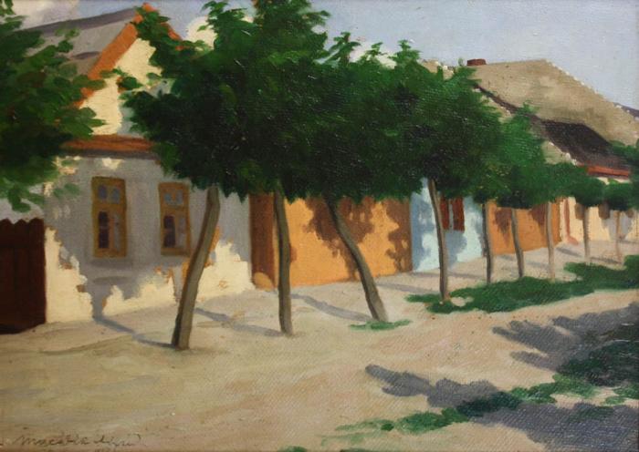 MACALIK Alfréd, Peisaj cu șir de case la Szolnok, 1917 [0]